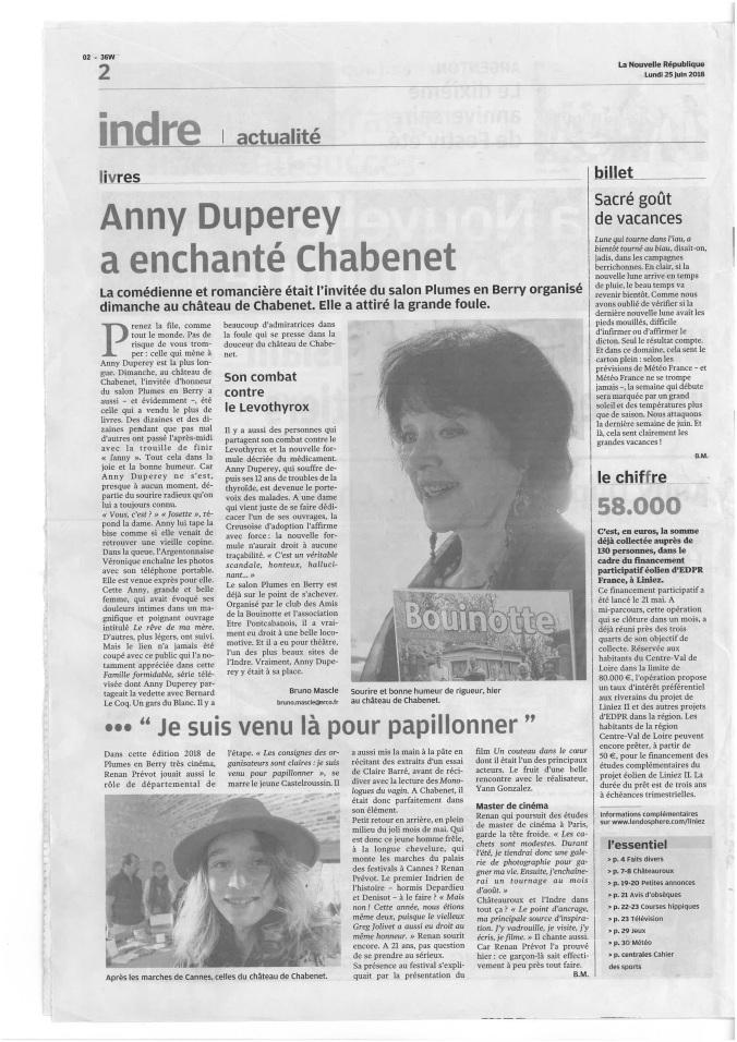 Presse Plumes_Anny Duperey a enchanté Chabenet