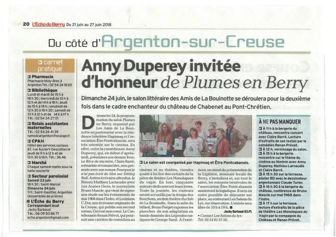 Presse Plumes_Anny Duperey invitée d honneur de Plumes en Berry