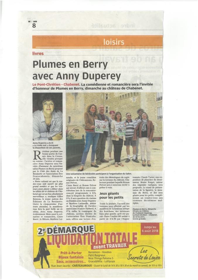 Presse Plumes_Plumes en Berry avec Anny Duperey